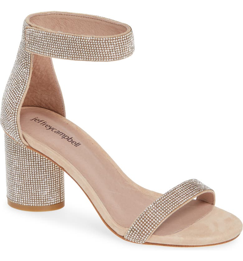 JEFFREY CAMPBELL Laura Crystal Embellished Ankle Strap Sandal, Main, color, NUDE SUEDE CHAMPAGNE