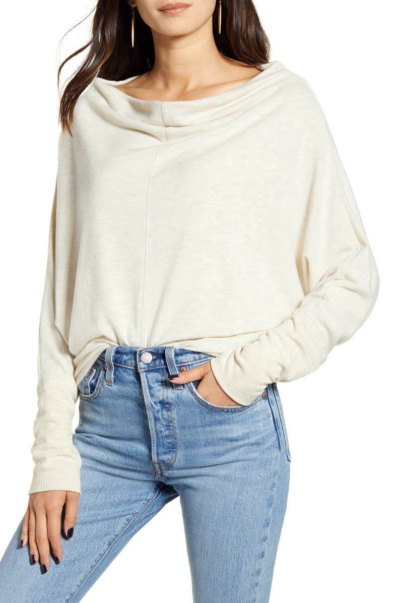 TREASURE & BOND Slouchy Long Sleeve Top, Main, color, BEIGE OATMEAL LIGHT HEATHER