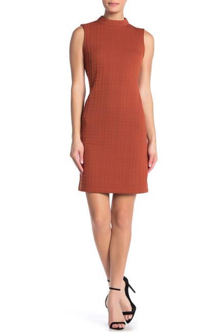 Image of Sharagano Mock Neck Textured Plaid Dress