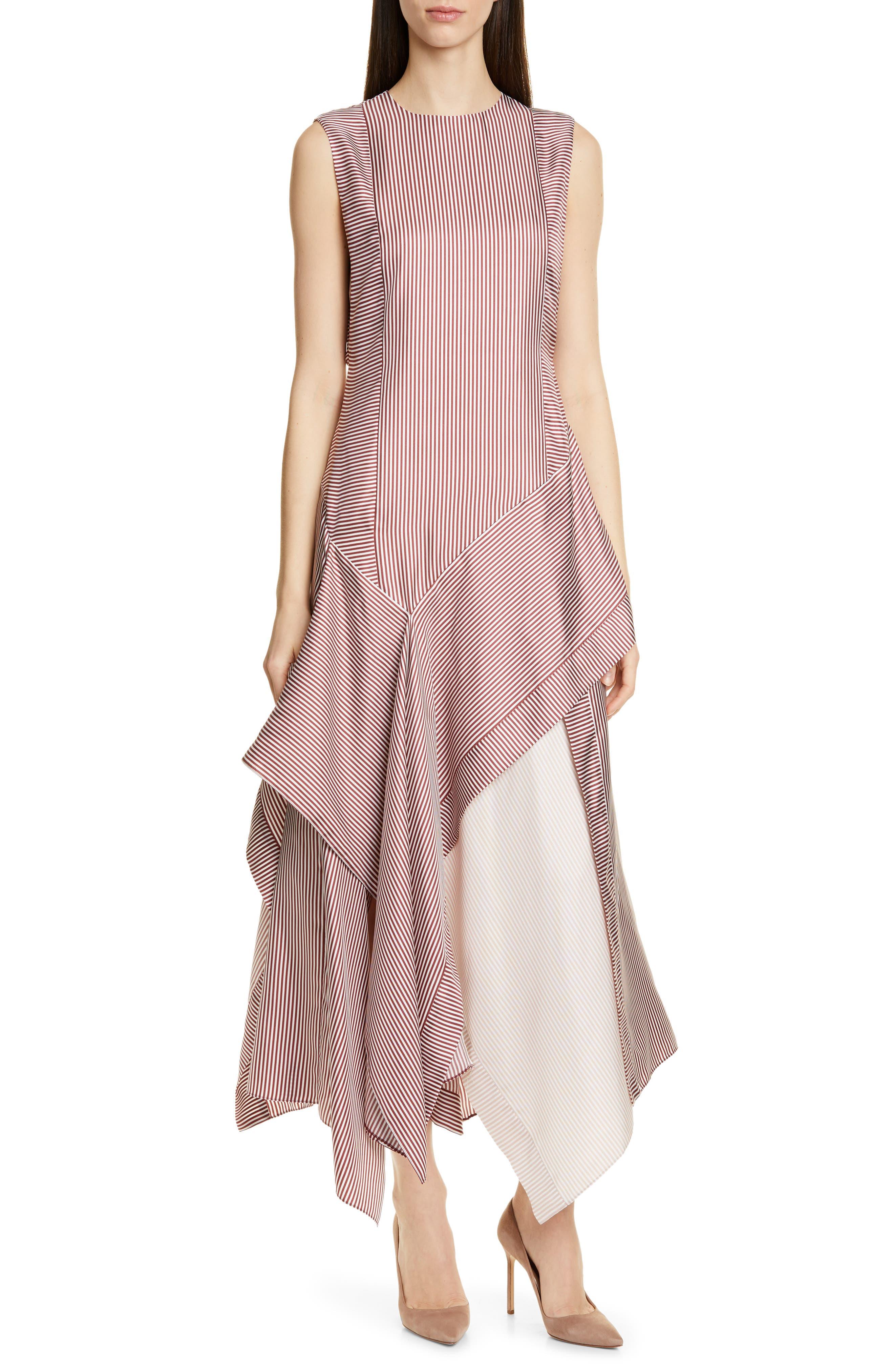 Boss Destrype Asymmetrical Silk Dress, Burgundy
