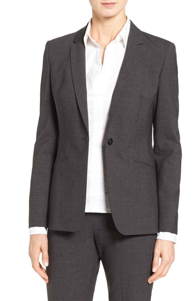 BOSS Jabina Tropical Stretch Wool Jacket, Main, color, CHARCOAL