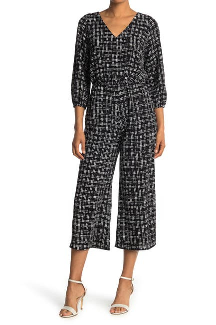 Image of London Times Catalina Grid Print Wide Leg Jumpsuit