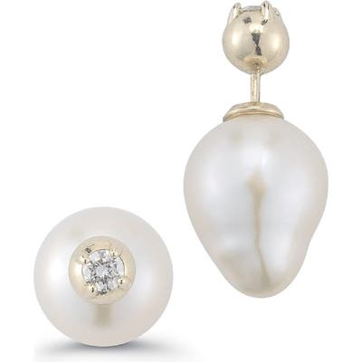 Mizuki Double Stud Pearl & Diamond Earrings