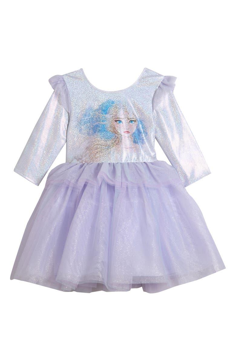 PIPPA & JULIE x Disney<sup>®</sup> 'Frozen II' Sparkle Peplum Dress, Main, color, BLUE