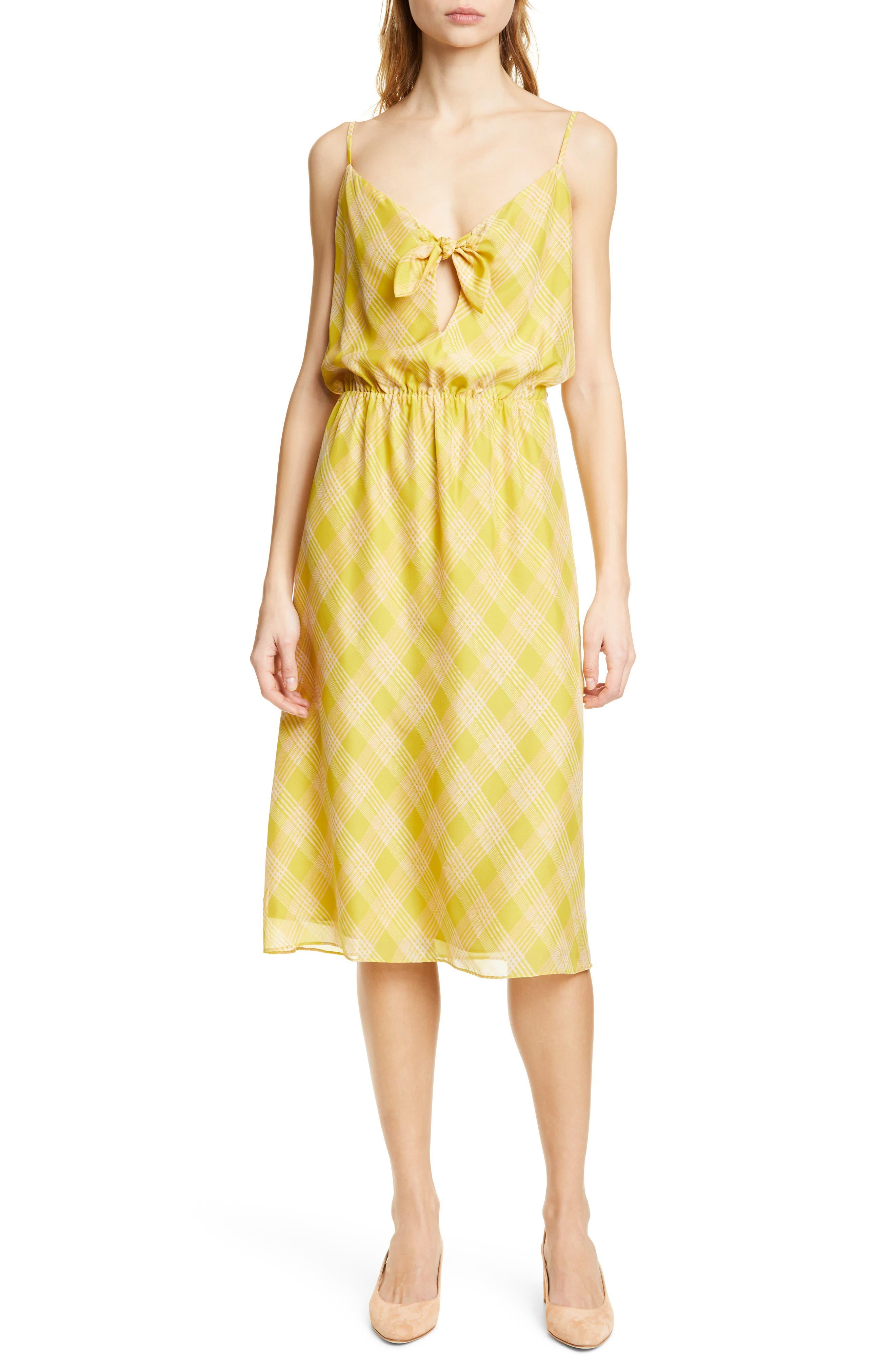 Joie Abiah Front Tie Silk Dress, Yellow