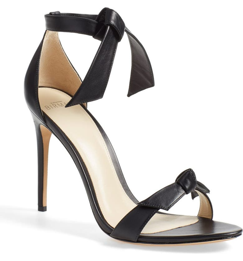 ALEXANDRE BIRMAN 'Clarita' Ankle Tie Sandal, Main, color, BLACK LEATHER