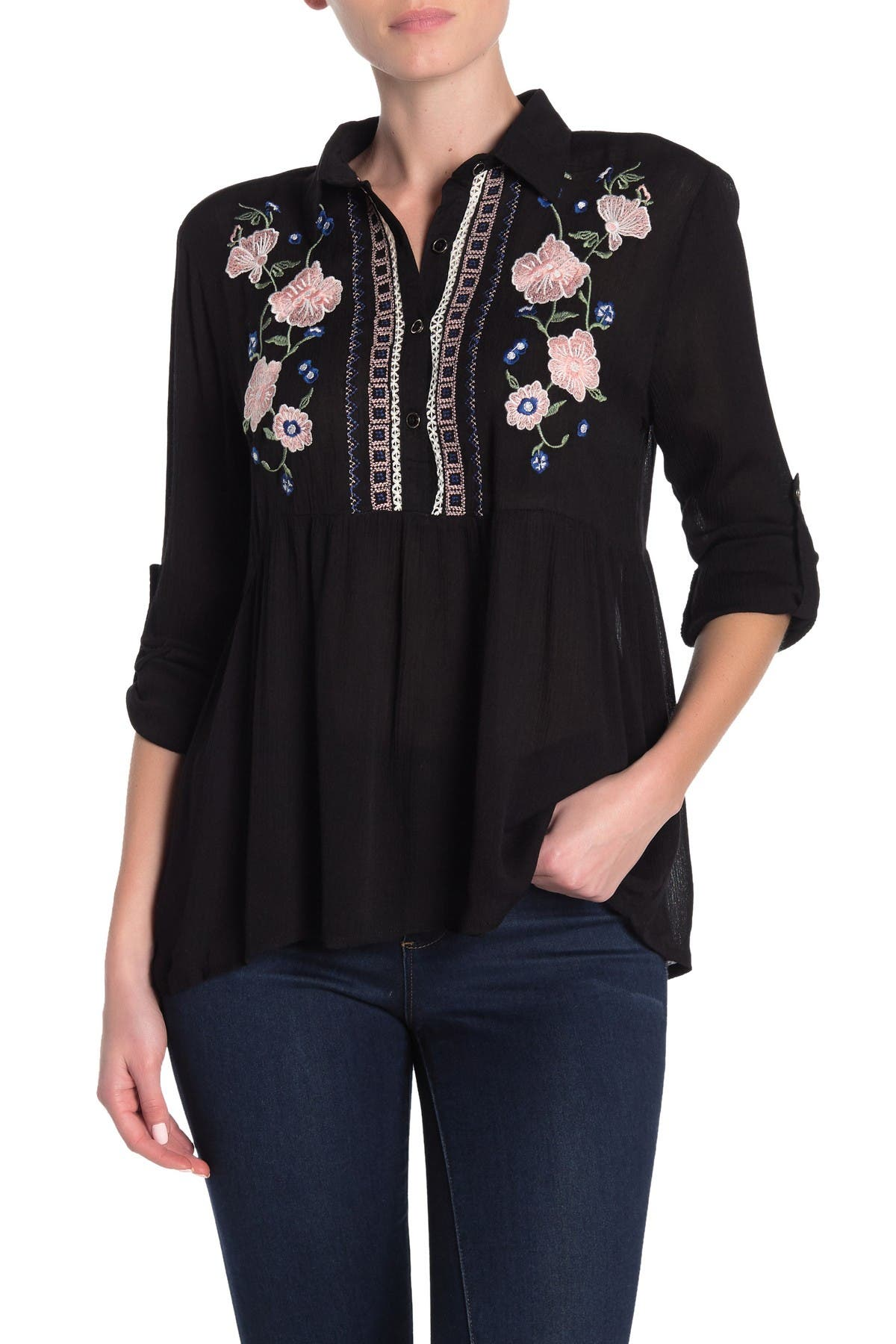 Image of Forgotten Grace Collar Embroidered Blouse
