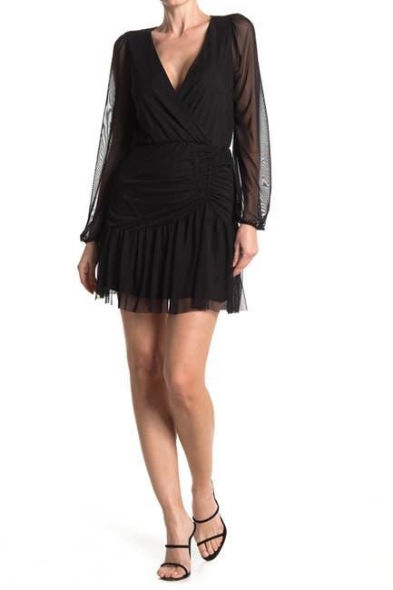 Image of Vanity Room Long Sleeve Animal Printed Shirred Mini Dress
