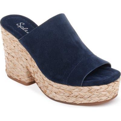 Splendid Theodore Open Toe Platform Slide Sandal- Blue