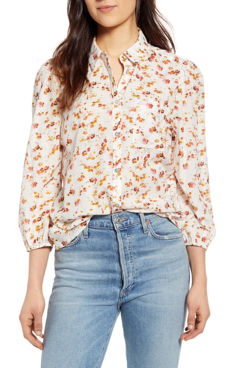 LUCKY BRAND The Poet Button-Up Shirt, Main, color, NATURAL MULTI