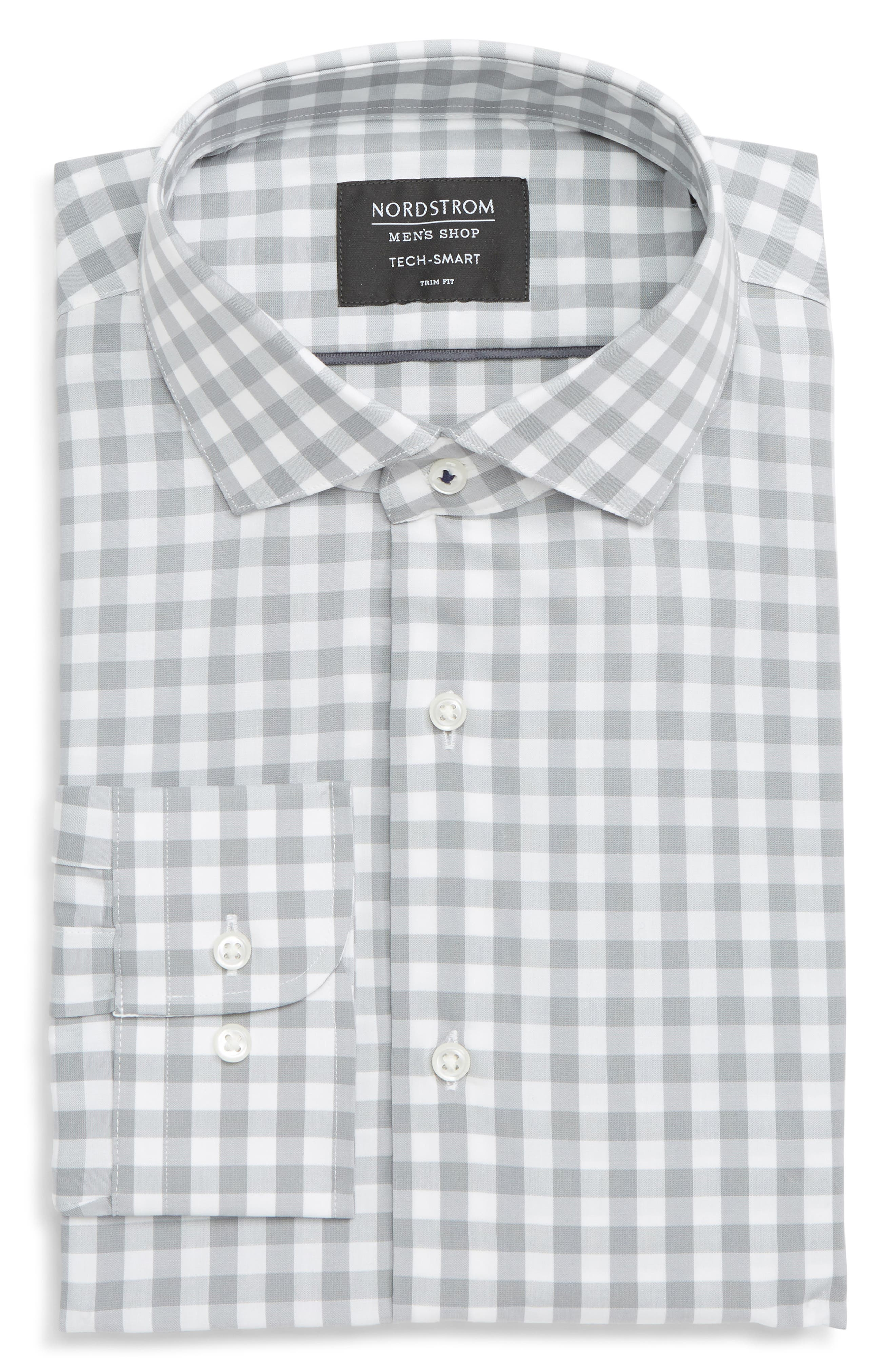 ,                             Tech-Smart Trim Fit Stretch Check Dress Shirt,                             Alternate thumbnail 11, color,                             050