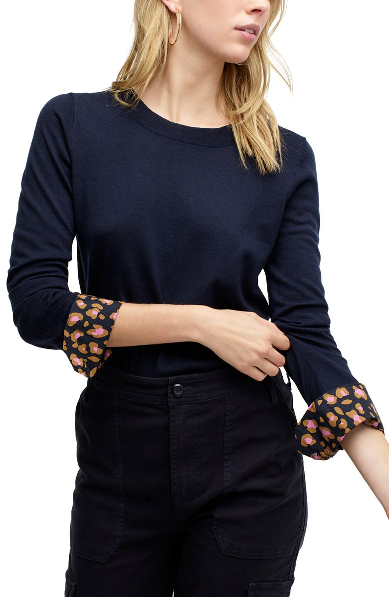 J.CREW Leopard Cuffs Tippi Sweater, Main, color, NAVY PINK MOD LEOPARD