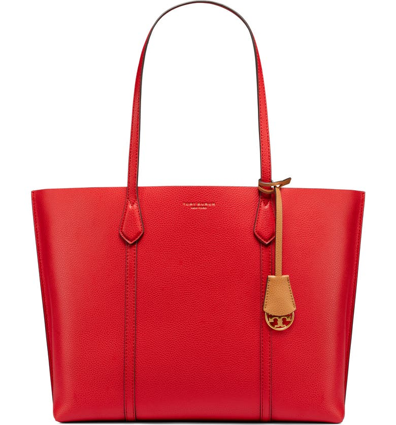 TORY BURCH Perry Leather Tote, Main, color, BRILLIANT RED