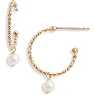 Poppy Finch Baby Pearl Hoop Earrings