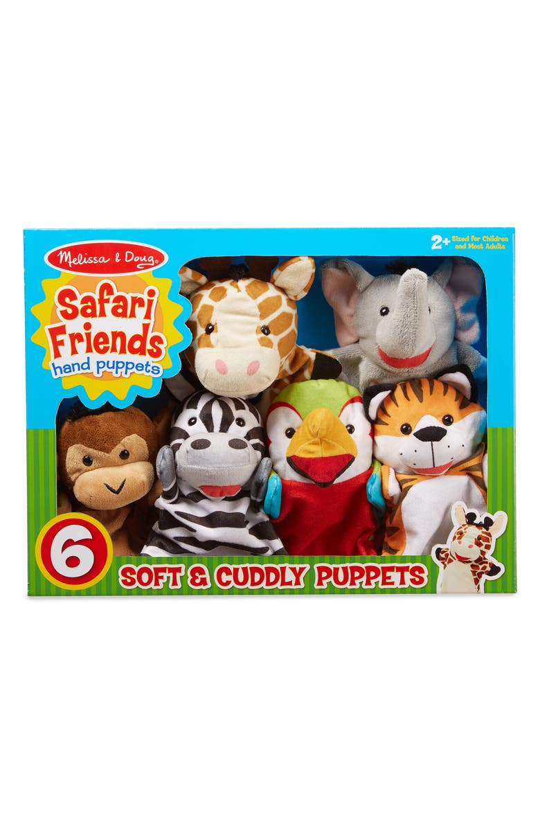 Melissa Doug Safari Friends Set Of 6 Hand Puppets