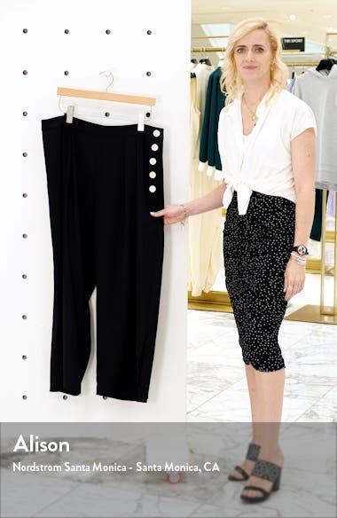 Side Button Summer Crepe Wide Leg Crop Pants, sales video thumbnail