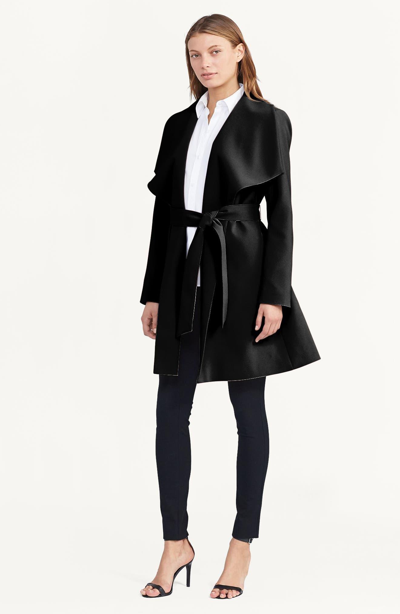 ,                             Belted Crepe Wrap Coat,                             Alternate thumbnail 4, color,                             BLACK