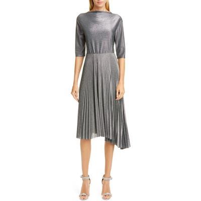 Fabiana Filippi Pleated Metallic Midi Dress, 8 IT - Grey