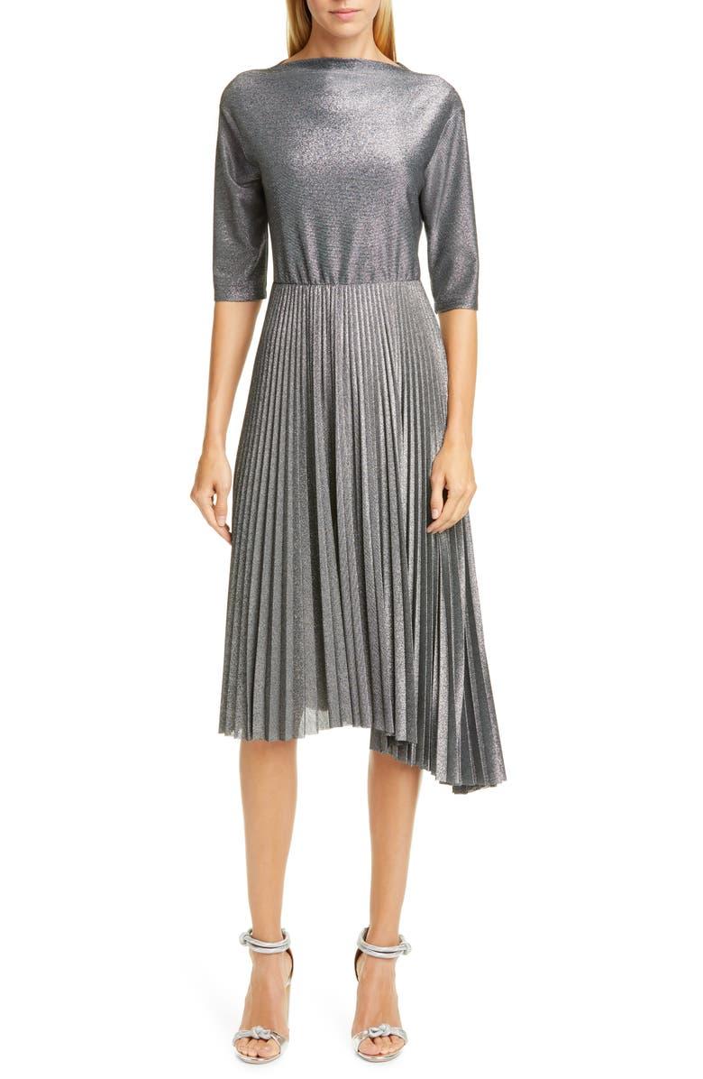 FABIANA FILIPPI Pleated Metallic Midi Dress, Main, color, METALLIC