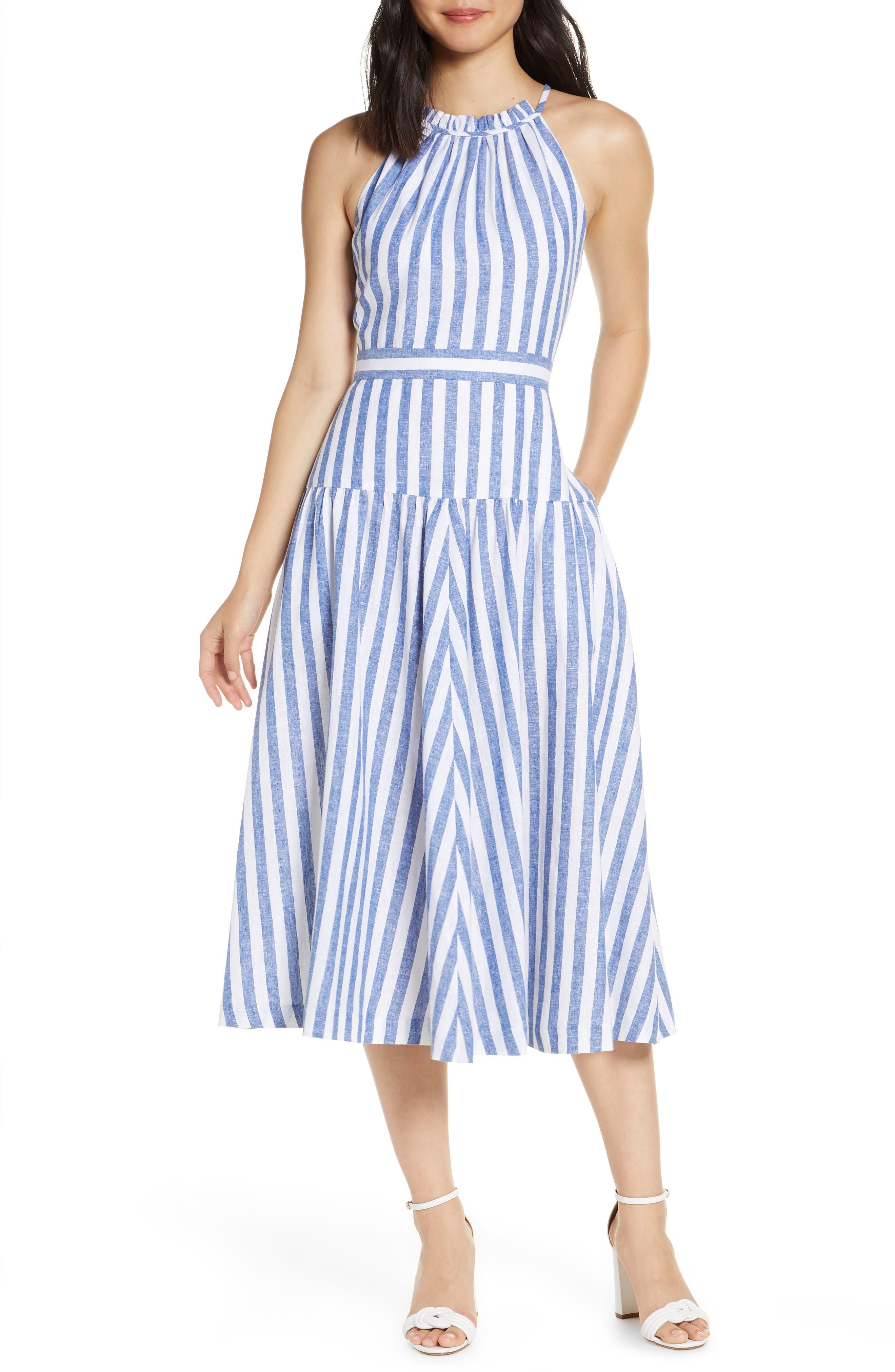 Eliza J Stripe Halter Linen Blend Midi Dress, Blue