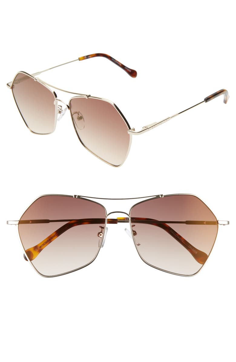 SEAFOLLY Halloways 58mm Aviator Sunglasses, Main, color, GOLD/ BROWN GRADIENT MIRROR