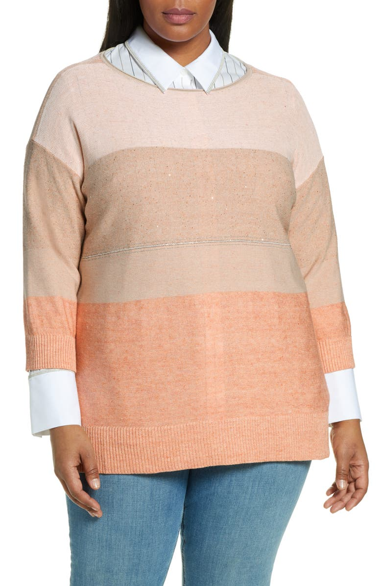 LAFAYETTE 148 NEW YORK Chain Embellished Ombré Colorblock Sweater, Main, color, SEDONA MULTI
