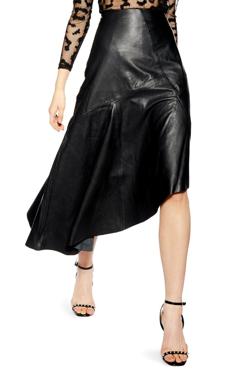 TOPSHOP Asymmetrical Leather Skirt, Main, color, 001