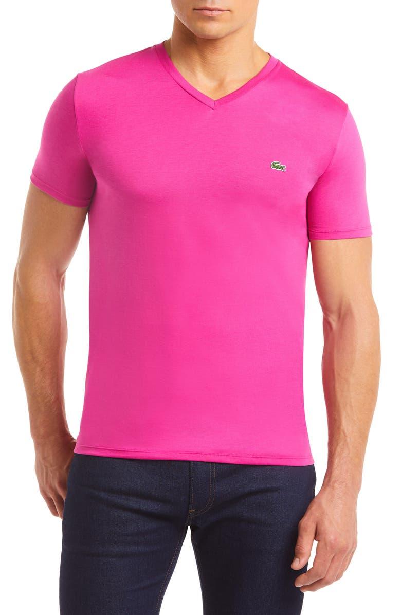 LACOSTE Regular Fit V-Neck T-Shirt, Main, color, Z04 GALA