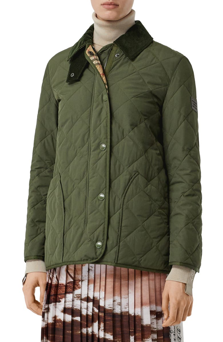 BURBERRY Cotswold Thermoregulated Quilted Barn Jacket, Main, color, POPLAR GREEN