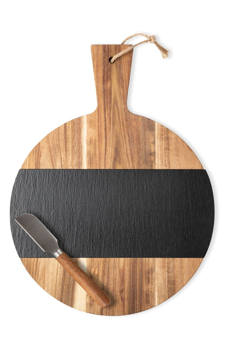 CATHY'S CONCEPTS Monogram Slate & Acacia Wood Serving Board & Cheese Knife, Main, color, BLANK