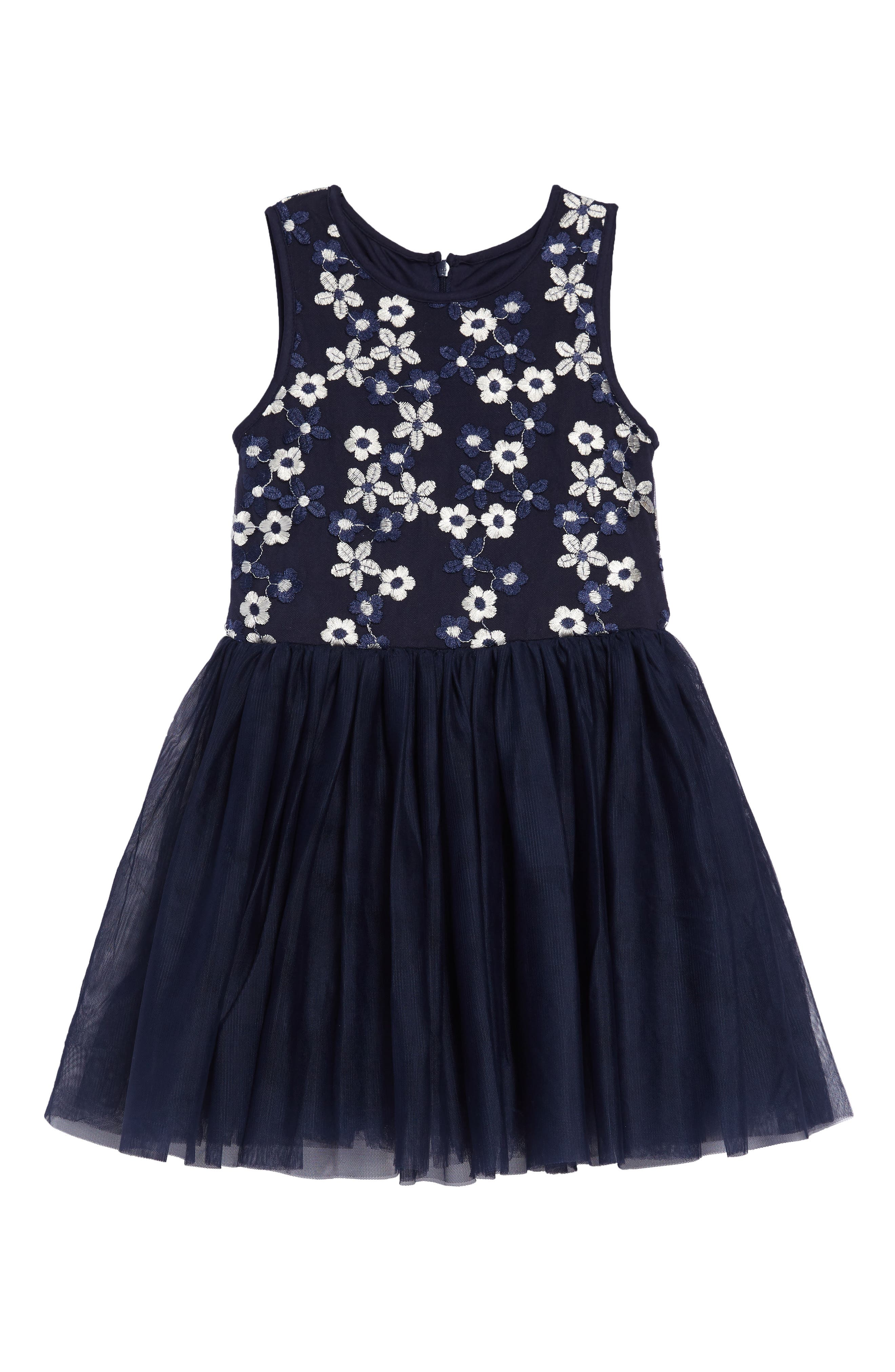 baeb69a0c915 Girl's Pastourelle By Pippa & Julie Daisy Embroidered Fit & Flare Dress,  Blue