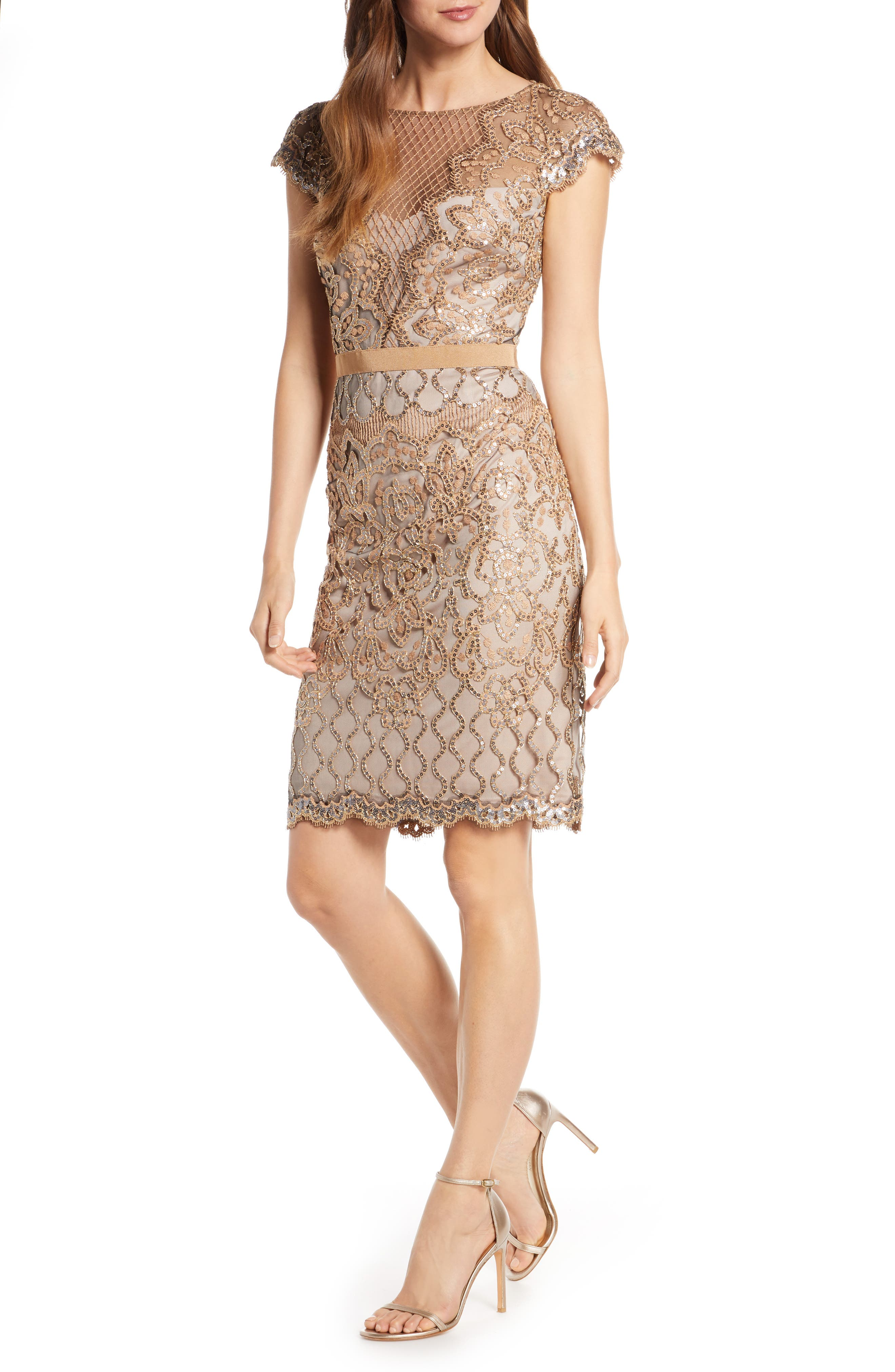 Tadashi Shoji Sequin Embellished Dress, Metallic