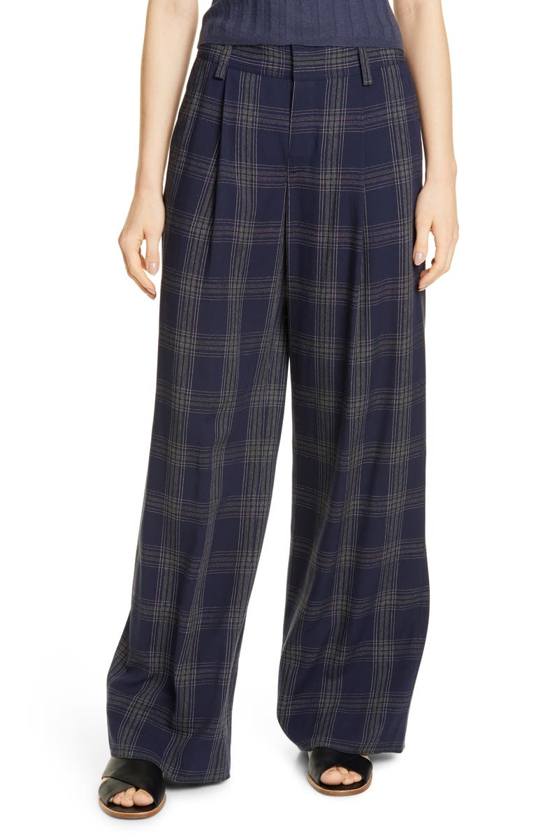 VINCE Plaid Wide Leg Pants, Main, color, MARINE