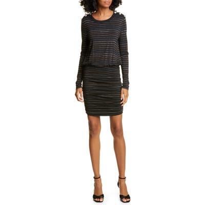 Veronica Beard Marcy Metallic Stripe Long Sleeve Dress, Metallic