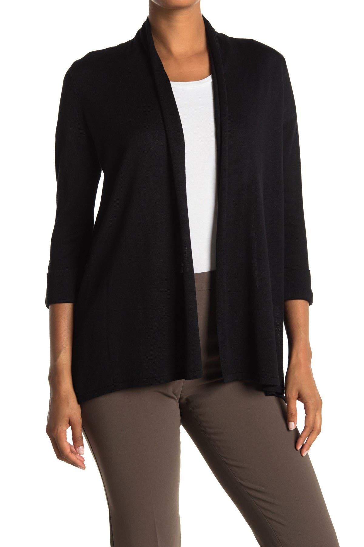 Image of M Magaschoni 3/4 Length Sleeve Cardigan Sweater