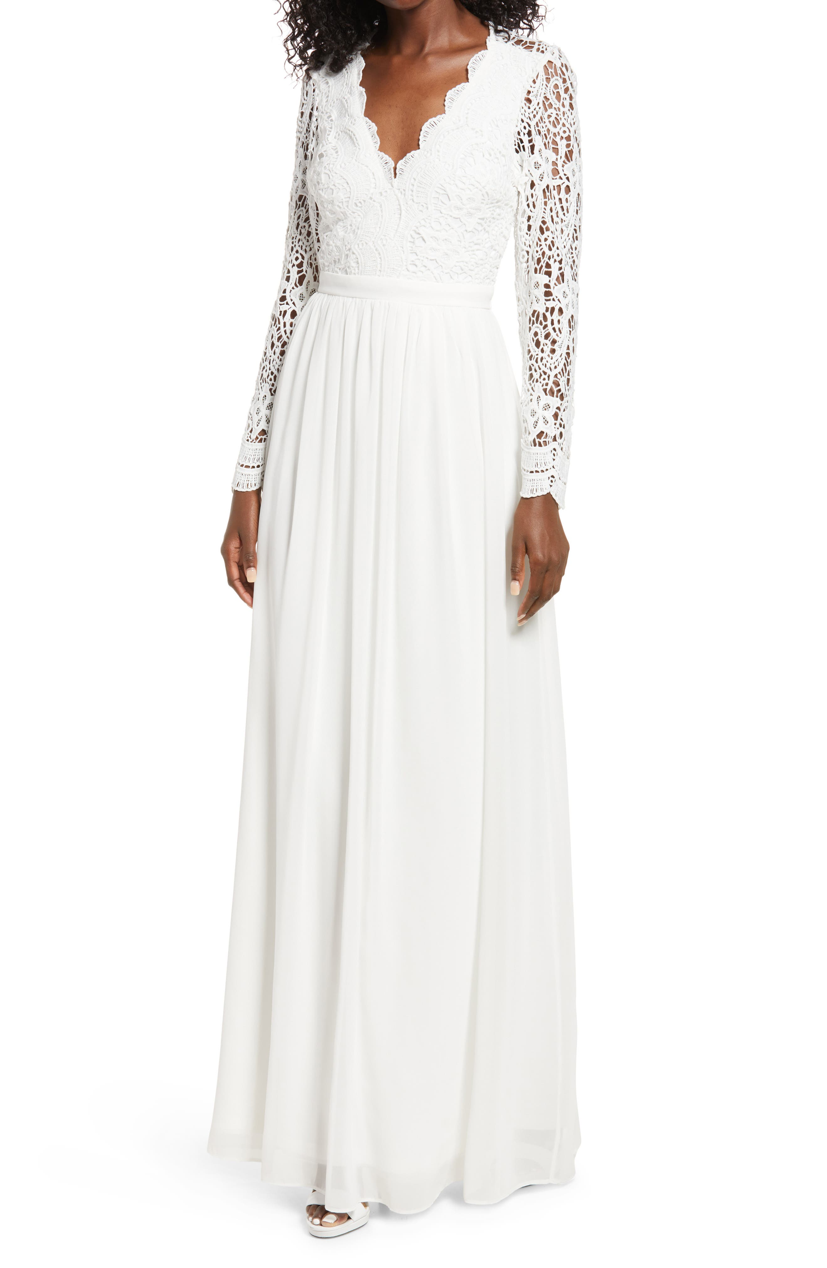 1940s Style Wedding Dresses | Classic Wedding Dresses Womens Lulus Awaken My Love Lace Bodice Long Sleeve Gown Size X-Small - White $88.00 AT vintagedancer.com