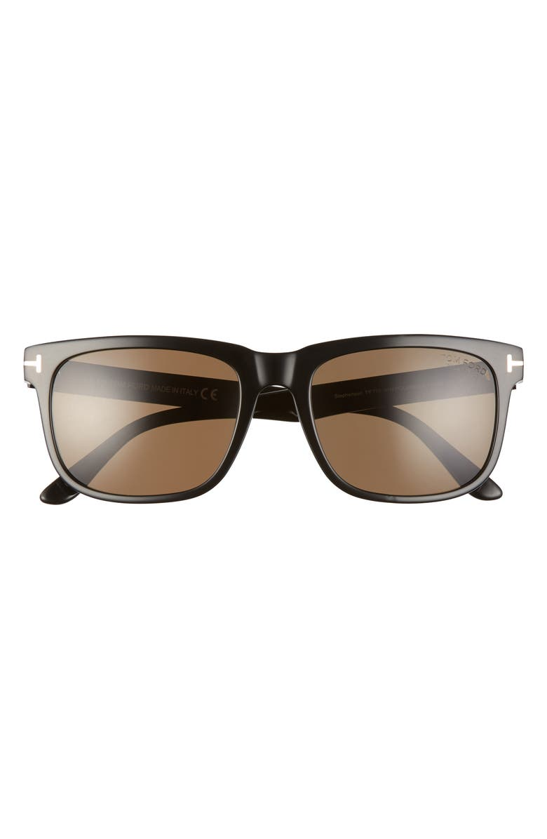 TOM FORD Stephenson 56mm Polarized Square Sunglasses, Main, color, SHINY BLACK