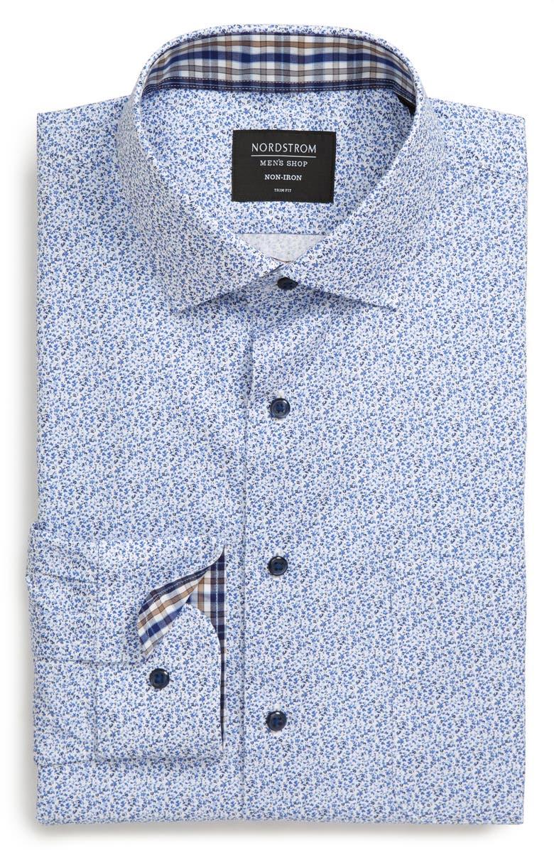 NORDSTROM MEN'S SHOP Trim Fit Non-Iron Floral Dress Shirt, Main, color, BLUE VICTORIA