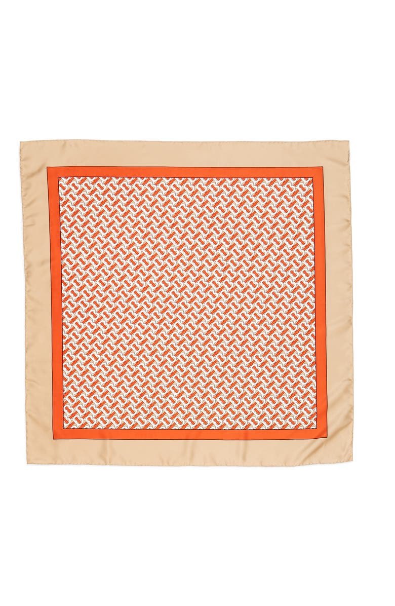 BURBERRY Monogrammed Square Silk Scarf, Main, color, VERMILLION