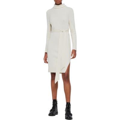 Allsaints Roza Long Sleeve Turtleneck Sweater Dress, Ivory