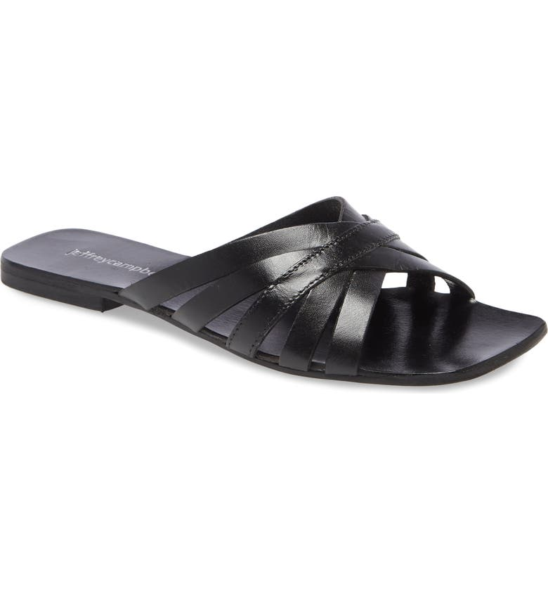 JEFFREY CAMPBELL Amarra Slide Sandal, Main, color, BLACK LEATHER