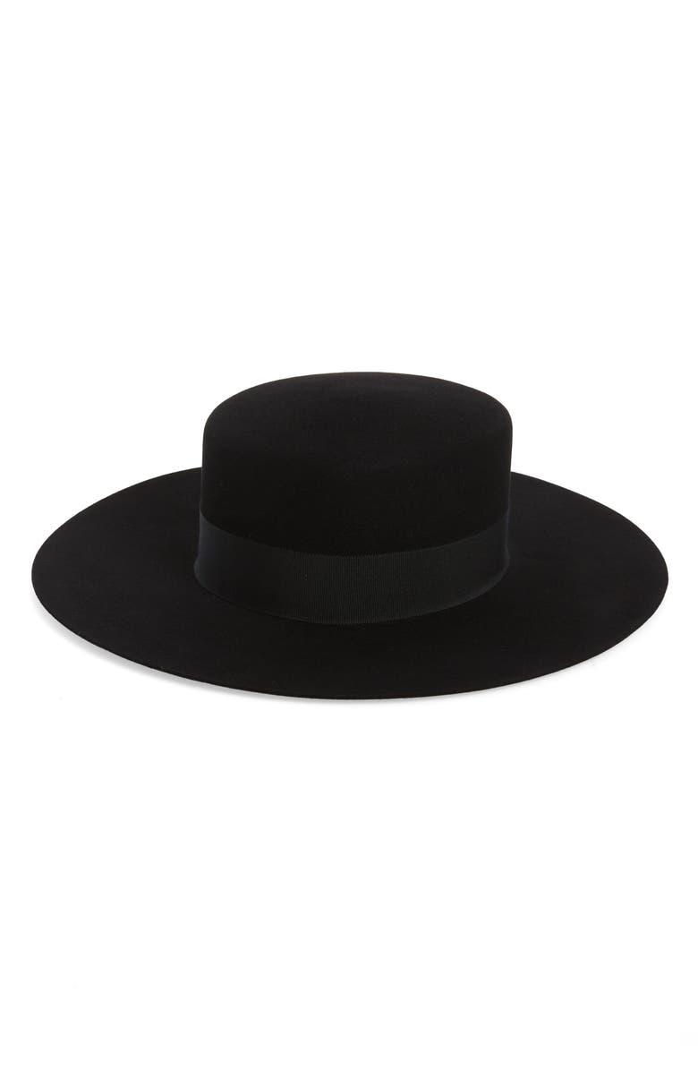SAINT LAURENT Fur Felt Boater Hat, Main, color, BLACK/ BLACK