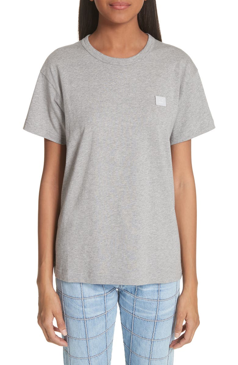 ACNE STUDIOS Nash Face Tee, Main, color, LIGHT GREY MELANGE
