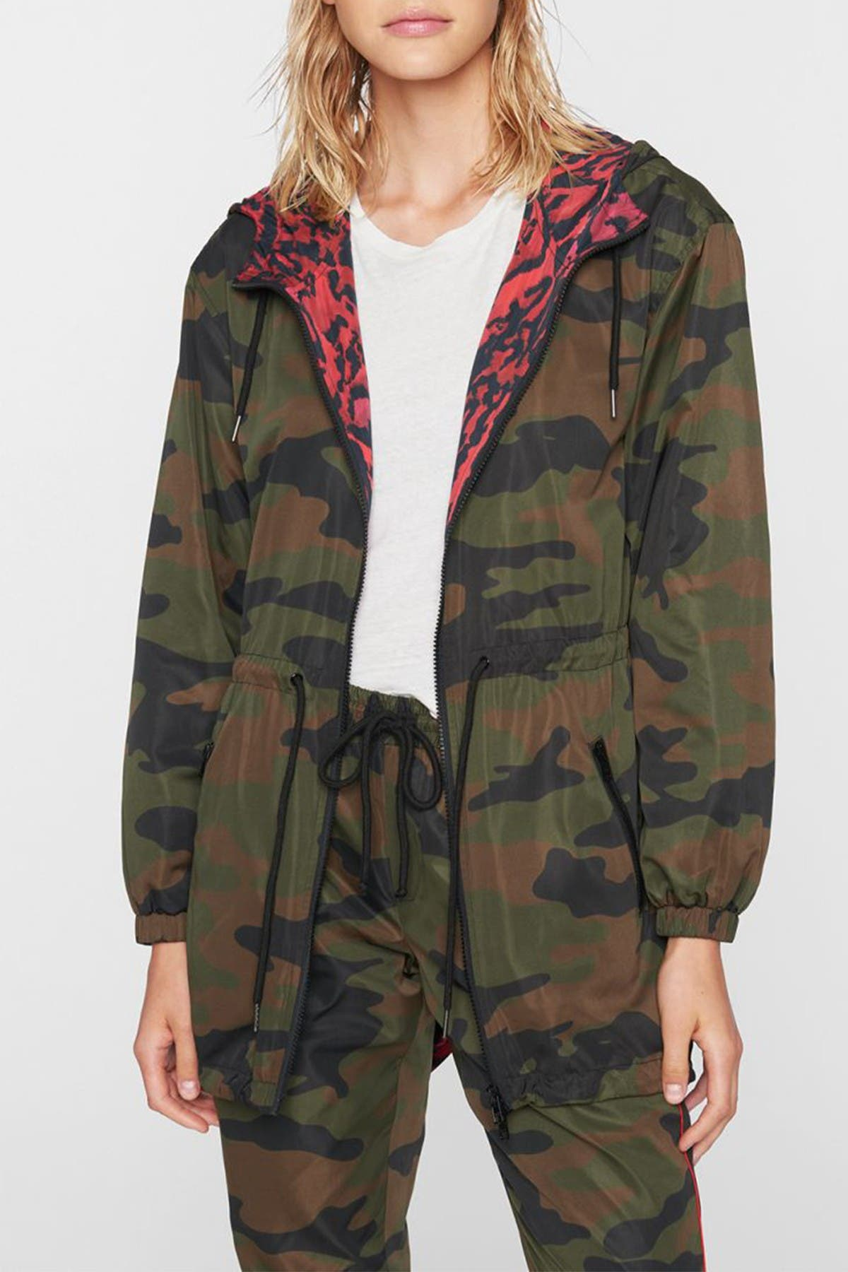 Image of PAM AND GELA Camo Animal Print Reversible Hooded Anorak Jacket
