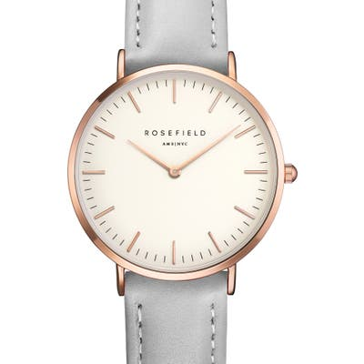 Rosefield Tribeca Leather Strap Watch,