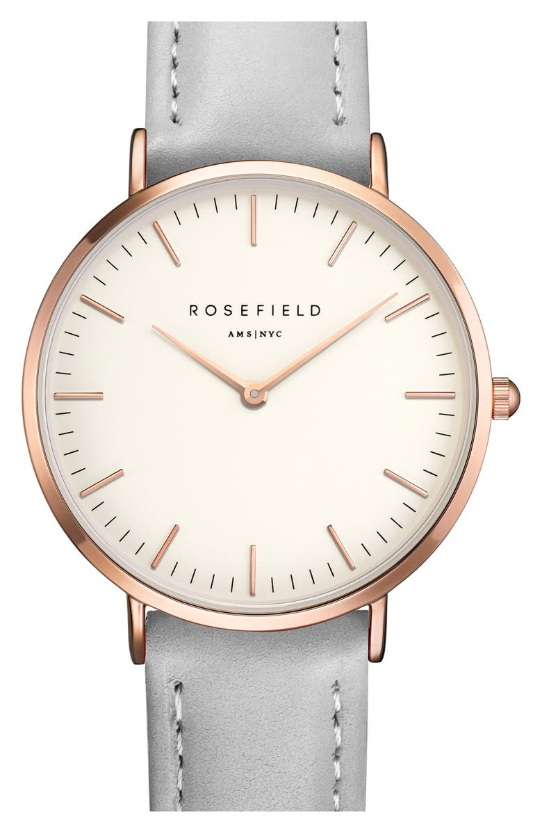 ROSEFIELD Tribeca Leather Strap Watch, 33mm, Main, color, GREY/ WHITE/ ROSE GOLD
