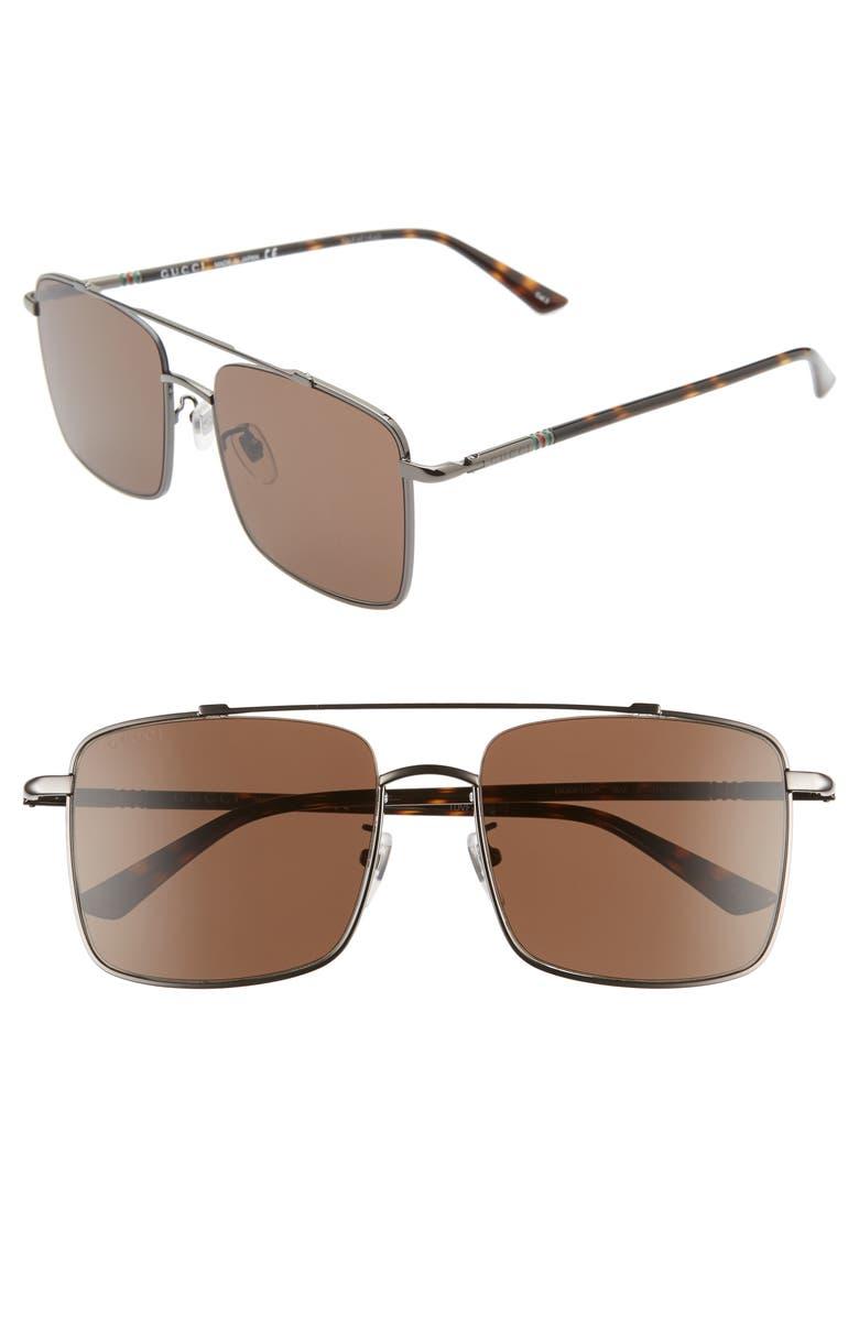 GUCCI 56mm Navigator Square Sunglasses, Main, color, SHINY DARK RUTHENIUM