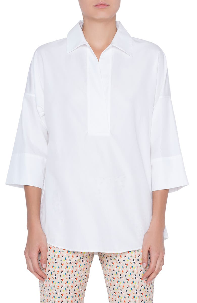 AKRIS PUNTO Cotton Poplin Tunic, Main, color, WHITE