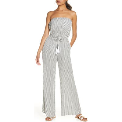 Elan Stripe Strapless Cover-Up Jumpsuit, Grey
