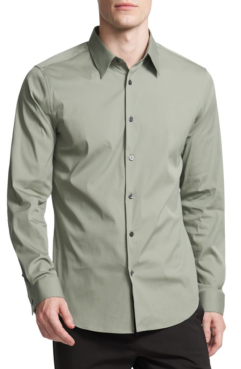 THEORY Sylvain Slim Fit Button-Up Dress Shirt, Main, color, DARK MARSH